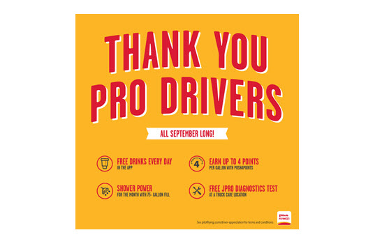 Pilot Company Thanks Professional Drivers all September with Free Drinks and Deals